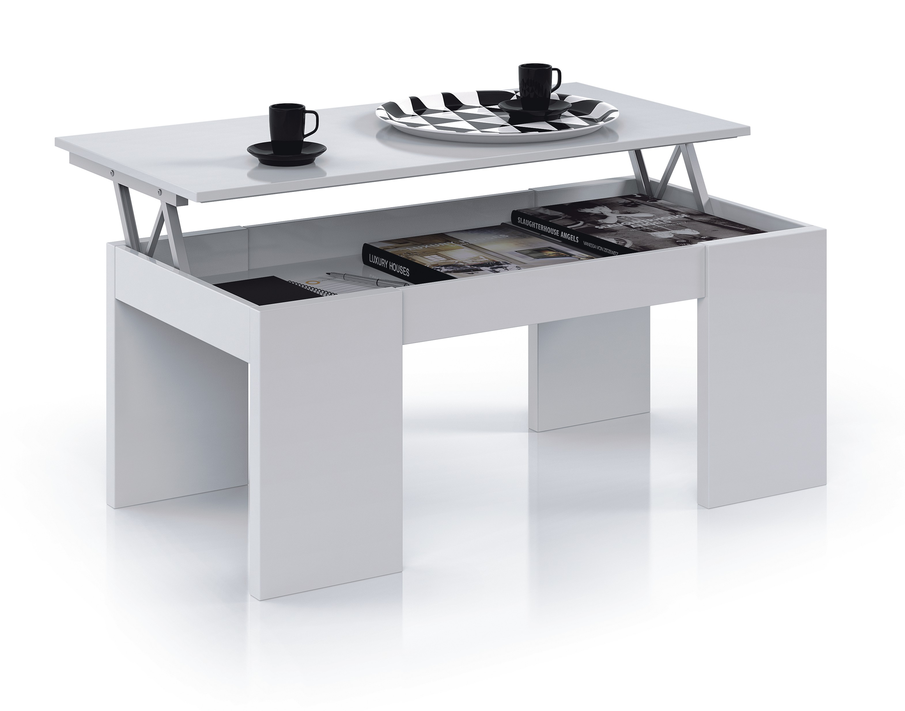 mesa cafe blanco elevable